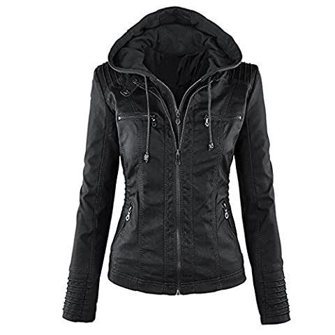 Blivener Womens Classic Faux Leather Hooded Jackets Zip Up Outwear Black UK 10-12