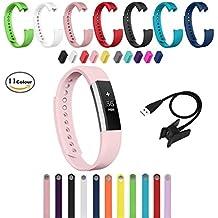 Chok Idea Fitbit alta Bandas de repuesto de accesorios [libre Cargador USB], Classic silicona suave Sport bandas correas para Fitbit alta [Cargador USB libre] Blush Pink Talla:large
