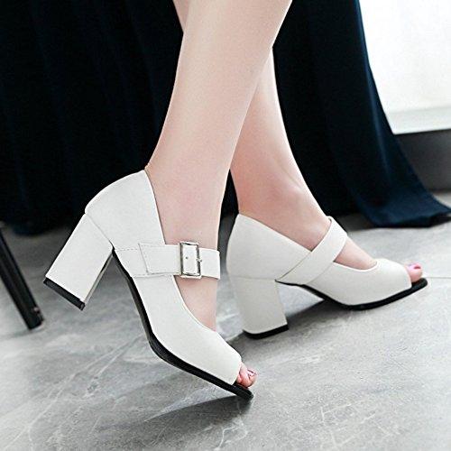 JOJONUNU Femmes Mode Peep Toe Escarpins white