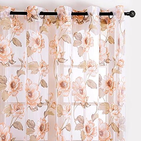 Top Finel brillant Pfingstrosen Blumen transparent Gardine Vorhang Deko für