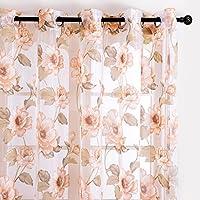 Top Finel Cortina Transparente de Paneles para Sala de Estar, Visillo de Flor Peonía 140 cm Anchura por 245 cm Longitud, Ojales, Solo Panel, Marron