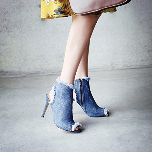 Et Jean Bleu Toe Printemp Slingback Elegantes Lautomne Toile SqcSrE