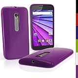 igadgitz Sólido Violeta Lustroso Funda Carcasa Gel TPU para Motorola Moto G 3 ª Generación 2015 XT1540 Case Cover + Protector Pantalla