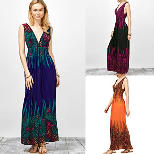 Femmes Robe, OverDose Sexy Col en V Robe Longue ImpriméE Style BohèMe Evening Party Long Dress Orange