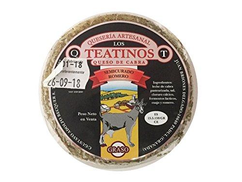 Queso de cabra artesanal sabor intenso y delicioso, curado, semicurado, con hierbas aromáticas y en aceite. Quesería Artesanal los teantinos. (varios formatos) Envió GRATIS 24 h . (Romero, 300gr aprox unidad. (PACK 4 unidades))