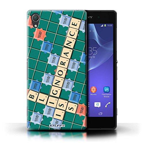 Kobalt® Imprimé Etui / Coque pour Sony Xperia Z2 / Pratique Parfaite conception / Série Mots de Scrabble Ignorance Béatitude