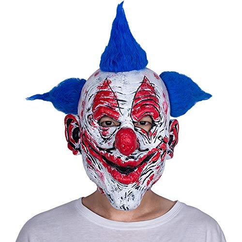 Halloween blauhaarige Clown Maske, Latex Horror Rotten Nase Kapuze Tanzparty Rollenspiel Requisiten,A