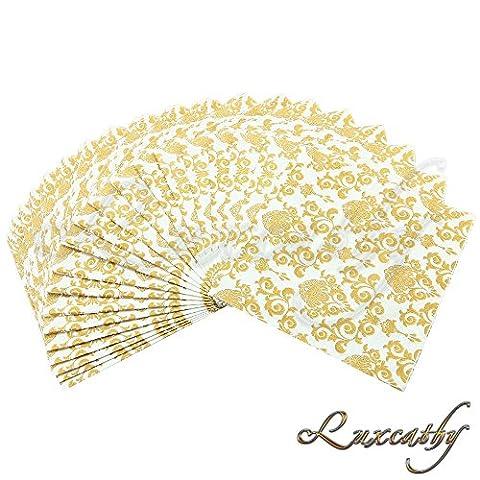 Luxcathy 40 Count Lace Pattern Servietten 2-Ply Dekorative Papier Tisch Servietten für Hochzeit Party Geburtstag, 13 von 13 Zoll (Gold (Effect Champagne)