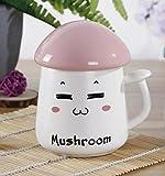 ufengke® 370Ml Kreative Karikatur Pilz Tasse Student Geschenk Tasse Keramik Tee Tasse Milch Tasse Mit Deckel,Rosa