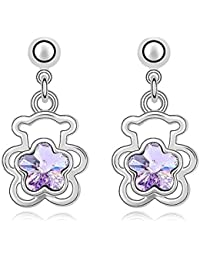 Silver Crystal Diamond Accent Cute Baby Bear Fashion Earrings Made with Swarovski Crystal, with a Gift Box
