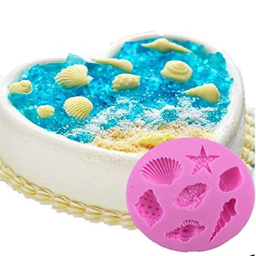 Lalang DIY Silikon-Kuchen Dekorieren Craft Zucker Schokoladen-Form (Muscheln und Seesterne) Kleine Muschel Ausstecher