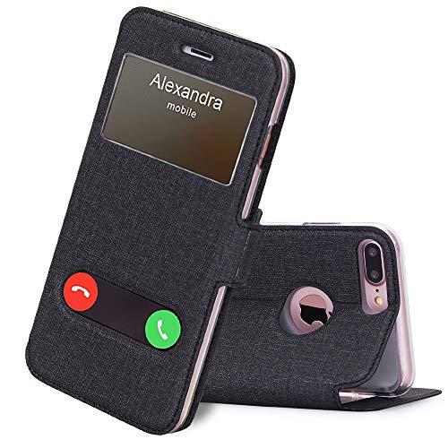 FYY iPhone 8 Plus Hülle,iPhone 7 Plus Hülle, Premium PU Lederhülle Flip Leder Cover Case Tasche Handytasche Shell für iPhone 8 Plus/iPhone 7 Plus, Leinwand Schwarz