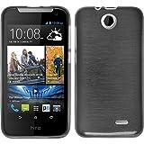 PhoneNatic Case für HTC Desire 310 Hülle Silikon silber, brushed + 2 Schutzfolien
