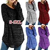 Women's Tops Toamen, Clothes Sale Clearance Ladies Solid Color Plus Size Irregular Hem Long Sleeve Casual Loose Blouses Shirts Tee Top Sweatshirts