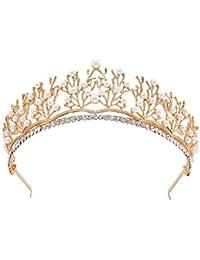 Santfe - Tiara de imitación chapada en Oro con Cristales de imitación para Novia, Fiesta, Tiara