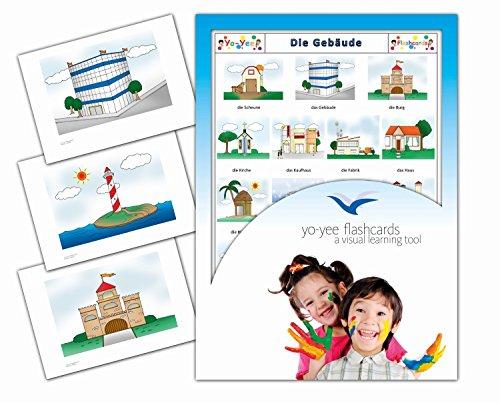 Yo-Yee Flashcards Bildkarten zur Sprachförderung - Gebäude - Erweitere spielerisch Grundwortschatz, Satzbau und Grammatik - Für Kita, Kindergarten, Grundschule oder Logopädie
