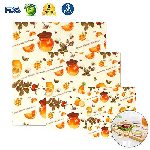 Lyeiaa Wachspapier3er Set, Wachspapier für Lebensmittel Wiederverwendbar Beeswax Wraps, Reusable Food Wrap Wax Wraps, Umweltfreundlich, Nachhaltig & Gesundheit (FDA & GOTS)