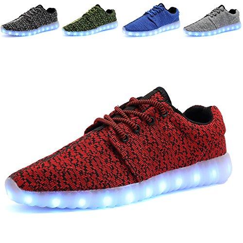 TULUO LED-leuchtende Schuhe Jungen-Mädchen-Frühlings-Sommer-Turnschuhe beiläufige Turnschuh-Paar-Schuhe [7 Farben] Red