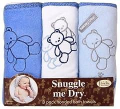 Idea Regalo - Frenchie Mini Couture - Set di 3 asciugamani con cappuccio per bambini e neonati, con orsetto