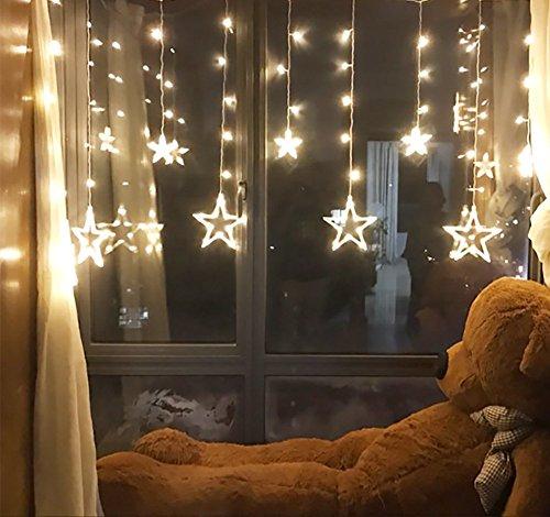 (12 Sterne 138 LED Vorhang Lichterketten, Fenstervorhang Lichter mit 8 Blink Modi Dekoration für Weihnachten, Hochzeit, Party, Haus, Terrasse Rasen, Warmes Weiß)