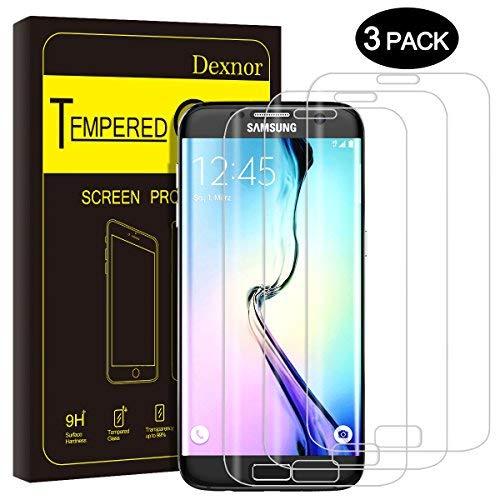 Dexnor [3 Stück] Kompatibel mit Samsung Galaxy S6 Edge Panzerglas Glas Folie Panzerfolie