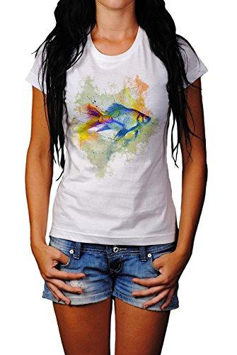 Fisch Damen T- Shirt , Stylisch aus Paul Sinus Aquarell Color