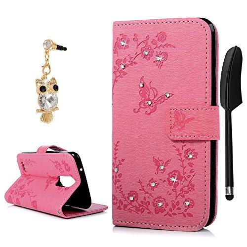 YOKIRIN LG K4 2017 Hülle Case Tashce Crystal Diamant Retro PU Leder Schutzhülle Handytasche Standfunktion Schmetterling Kreditkarten Halter Magnetische Portemonnaie Handyhülle für LG K4 2017 Pink
