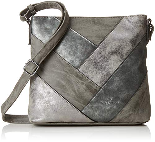 TOM TAILOR Umhängetasche Damen Finja, Grau (Grau), 5.5x24x25 cm, Damen Handtasche