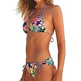 VJGOAL Damen Bikini, Bikini Damen Set Push Up Frauen Sexy Beachwear Frauen Brasilianischen Bademode Halter Weste Tops Badeanzug Strand Badeanzug(Rot,L)