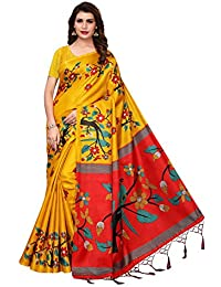 Oomph! Women's Art Silk Printed Kalamkari Sarees with Tassles - Medallion Yellow