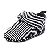 qgakago Baby Girls or Boys Fleece Booties - Cotton Lining and Soft Sole Shoes (s: 4.25 inch(0 6 Months), a-Black Stripe)