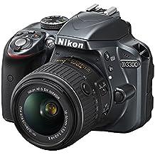 "Nikon D3300 + 18-55 AFP DX VR - Cámara réflex digital de 24,2 Mp (pantalla LCD 3"", estabilizador, vídeo Full HD), color gris oscuro - kit con objetivo 18-55MM AFP DX VR"