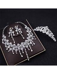 AN-LKYIQI Conjunto de joyería Nupcial Estilo Europeo Diamante Pendientes de Cristal Collar Conjunto de