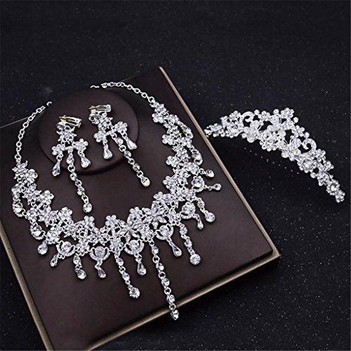 Brautschmuck Set Europäischen Stil Diamant Glas Ohrringe Halskette Schmuck-Set Hochzeitskleid...