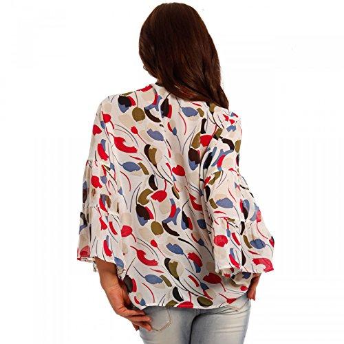 Damen Chiffon Bluse Hippie Shirt mit Dekoschmuck Tunika Mehrfarbig/Model5