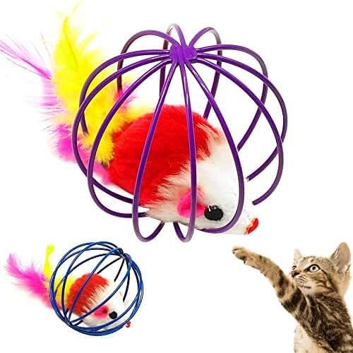 regalos tus mascotas mas kawaii TOPmountain Práctico ratón en jaula de juguete Regalos de ratones Juego interactivo juguetes para gatos Mascota Encantadora Linda Color aleatorio