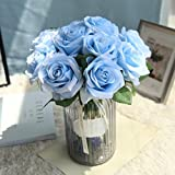 EARS Home Accessories Artificial 5Pcs künstliche gefälschte Rose Blume Bridal Bouquet Hochzeit Rosen Party Home Decor Dekoration Decor Party Home Wedding Decor Bouquet Artificial Flower Design (Blau)