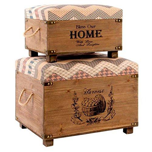 Indhouse - Baúl vintage de estilo industrial en madera y poliéster Home - Set de 2