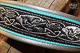 Hundehalsband Leder Keltische Drachen Silber Türkis Schwarz Klickverschluss Plastik