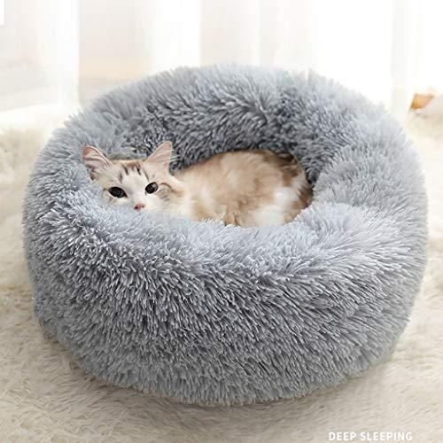 Haustier-Bett Beruhigende Round Nest Warmer weicher Plüsch Bequemt Donut Katzen-Bett-Kissen-Runde Nest Schlafsack Weich (Color : Gray, Size : 70cm)