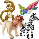 Folat/Carpeta 4 aufblasbare XXL-Tiere für eine * SAFARI-PARTY * // mit Affe + Papagei + Zebra + Löwe // Afrika Savanne Kindergeburtstag Geburtstag Motto Ballon Deko Dekoration