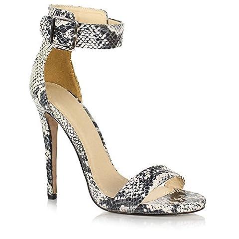SIREN Mesdames Stiletto haut talon avec boucle cheville Peep Toe Chaussures Sandales Barely There Size UK 5, EU 38 Beige Snake