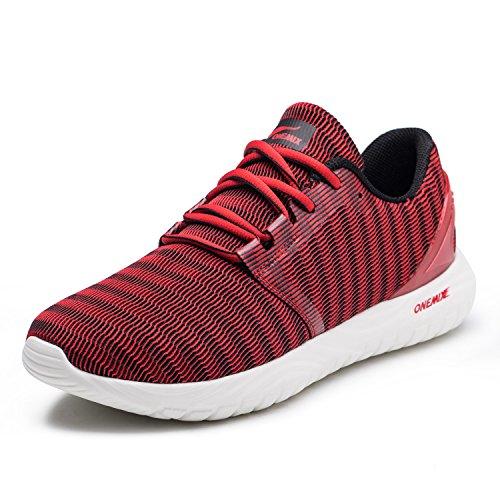ONEMIX Scarpe da Ginnastica da Uomo, Scarpe da Corsa Casual Sportive Running Fitness Sneakers Rosso 39