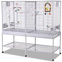 Montana Cages | Zimmervoliere, Käfig, Vogelkäfig New Madeira Double - Platinum mit waagerechter Verdrahtung