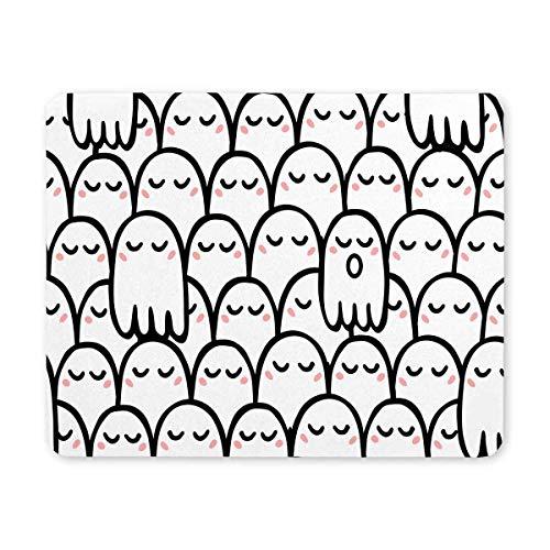 Luancrop Nette Karikatur-Geister lustiges Halloween-Thema-Rechteck-rutschfestes GummiMousepad, Spiel-Mausunterlage-Mausunterlage für Büro-Ausgangsfrau-Mann-Angestellt-Chef-Arbeit