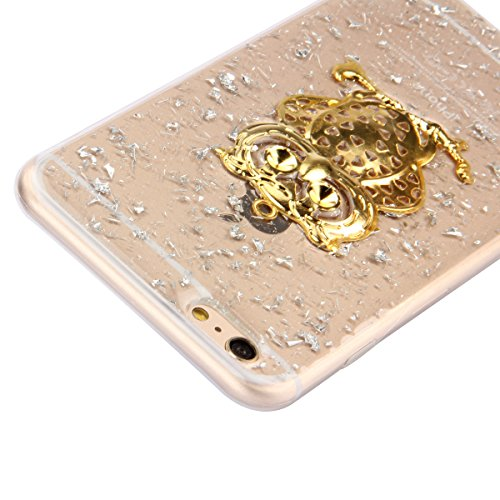 iPhone 6S Silicone Case,iPhone 6 Coque - Felfy Ultra Slim Transparent Flexible Soft Gel Luxe Case Bling Sparking Glitter Diamond Protection Souple TPU Case Cover Coque Etui Housse (or Case or Fleur Si Argent Case or Hibou