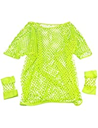 SODIAL(R) SHIP 80s Fancy Dress Mesh Top and Short Mesh Gloves Various Neon Colours-Yellow
