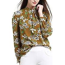 Abollria Tunika Damen Elegant Bluse mit Blumen Musterprint luftig leichte Sommer Bluse Lamgarm Chic perfekt für Frühling und Sommer