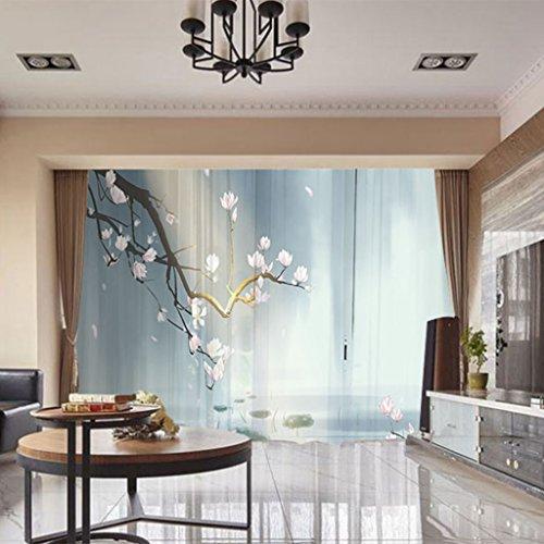 Dekoration Vorhang 3D-Nummer Drucken Vorhangplatte Blumen Handgefertigtes Fenster Deal Mit Verdunklungsvorhänge Vorhänge Durch RLF.LF,Lightblue,200Cm*250Cm