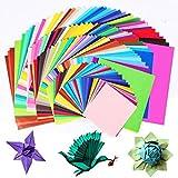 Carta per origami, su due lati Bcmrun 200fogli di carta per origami in 50colori vivaci assortiti 4misure fai da te Crafts Paper Crane per arti e mestieri progetto